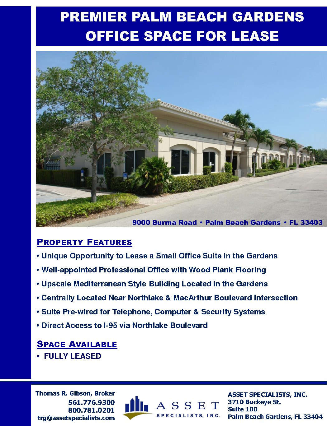 Burma Rd FULLY LEASED brochure – Asset Specialists, Inc